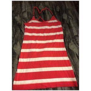 Striped tank with cute straps. Size Small.